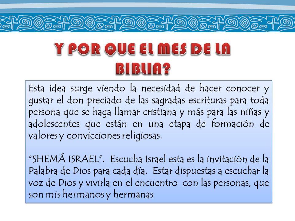Esta idea surge viendo la necesidad de hacer conocer y gustar el don preciado de las sagradas escrituras para toda persona que se haga llamar cristian