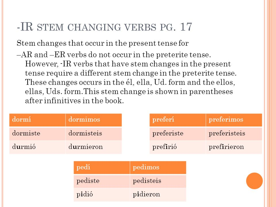 -IR STEM CHANGING VERBS PG. 17 Stem changes that occur in the present tense for –AR and –ER verbs do not occur in the preterite tense. However, -IR ve