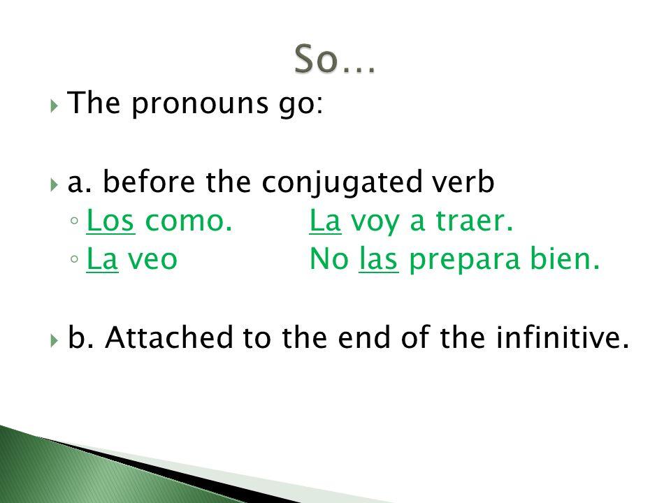 The pronouns go: a. before the conjugated verb Los como.La voy a traer. La veoNo las prepara bien. b. Attached to the end of the infinitive.