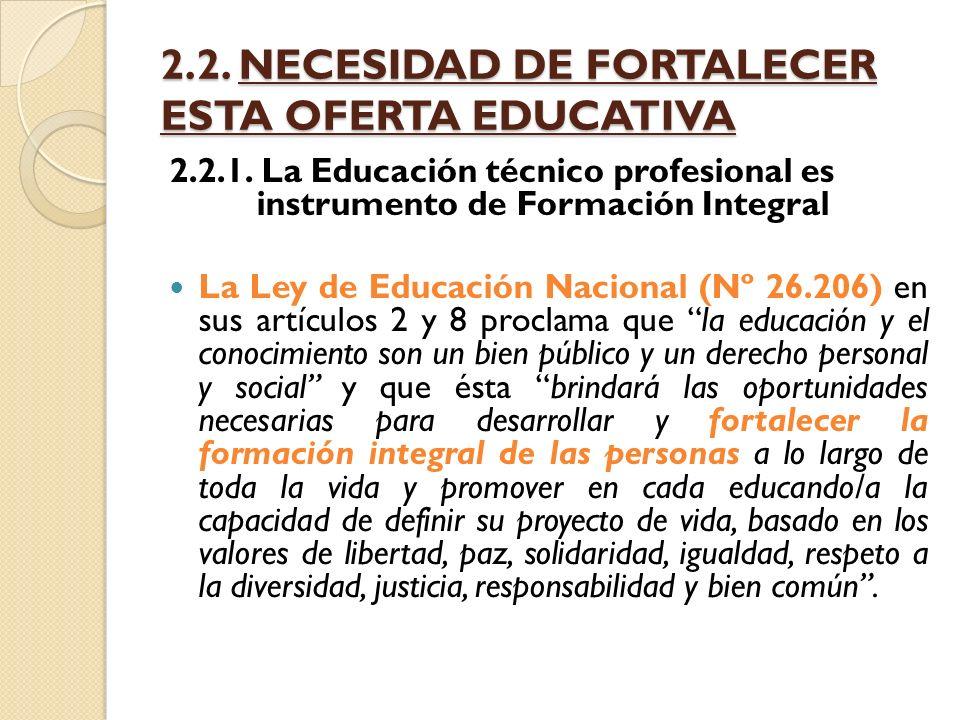 2.2. NECESIDAD DE FORTALECER ESTA OFERTA EDUCATIVA 2.2.1. La Educación técnico profesional es instrumento de Formación Integral La Ley de Educación Na