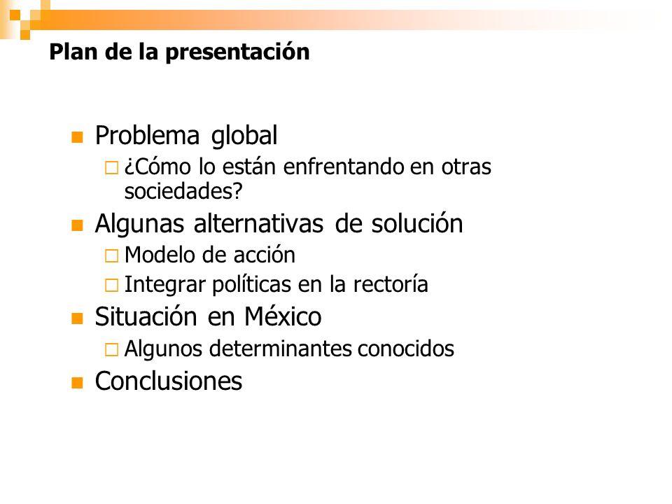 Plan de la presentación Problema global ¿Cómo lo están enfrentando en otras sociedades.
