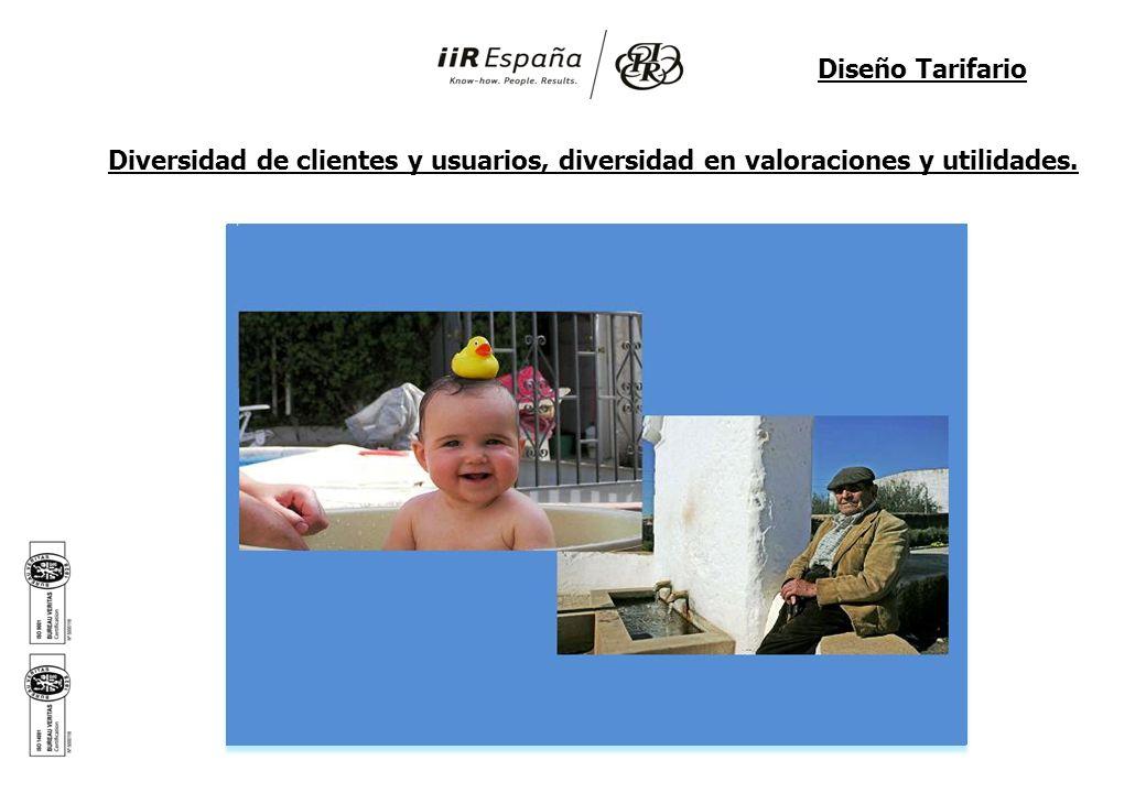 Diversidad de clientes y usuarios, diversidad en valoraciones y utilidades. Diseño Tarifario