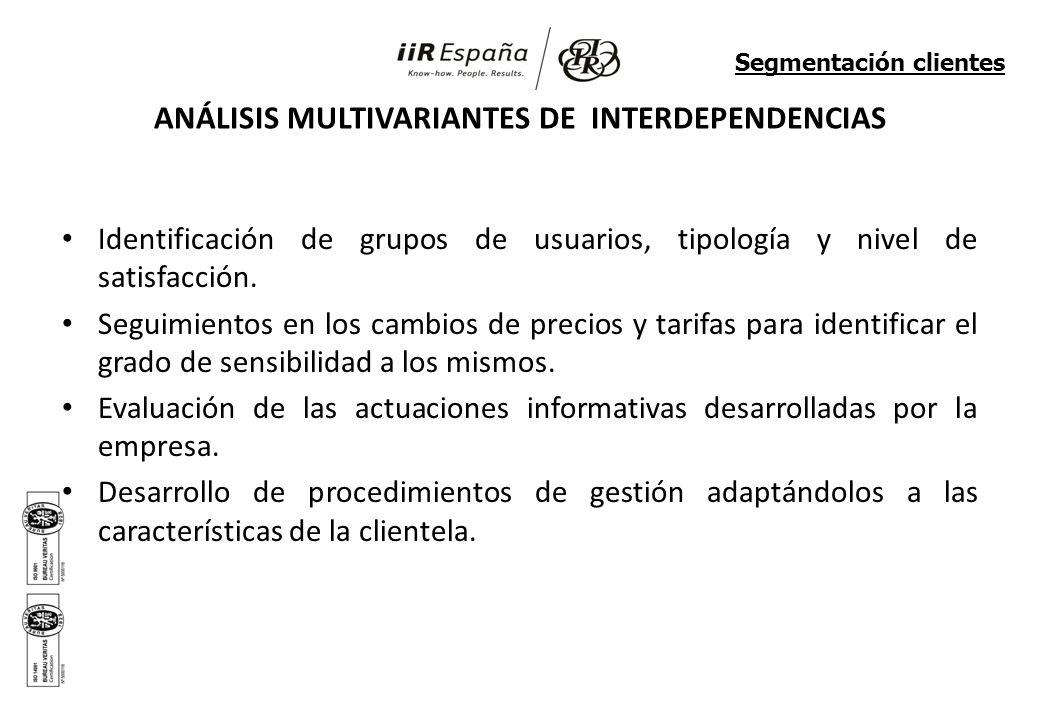 ANÁLISIS MULTIVARIANTES DE INTERDEPENDENCIAS Identificación de grupos de usuarios, tipología y nivel de satisfacción.