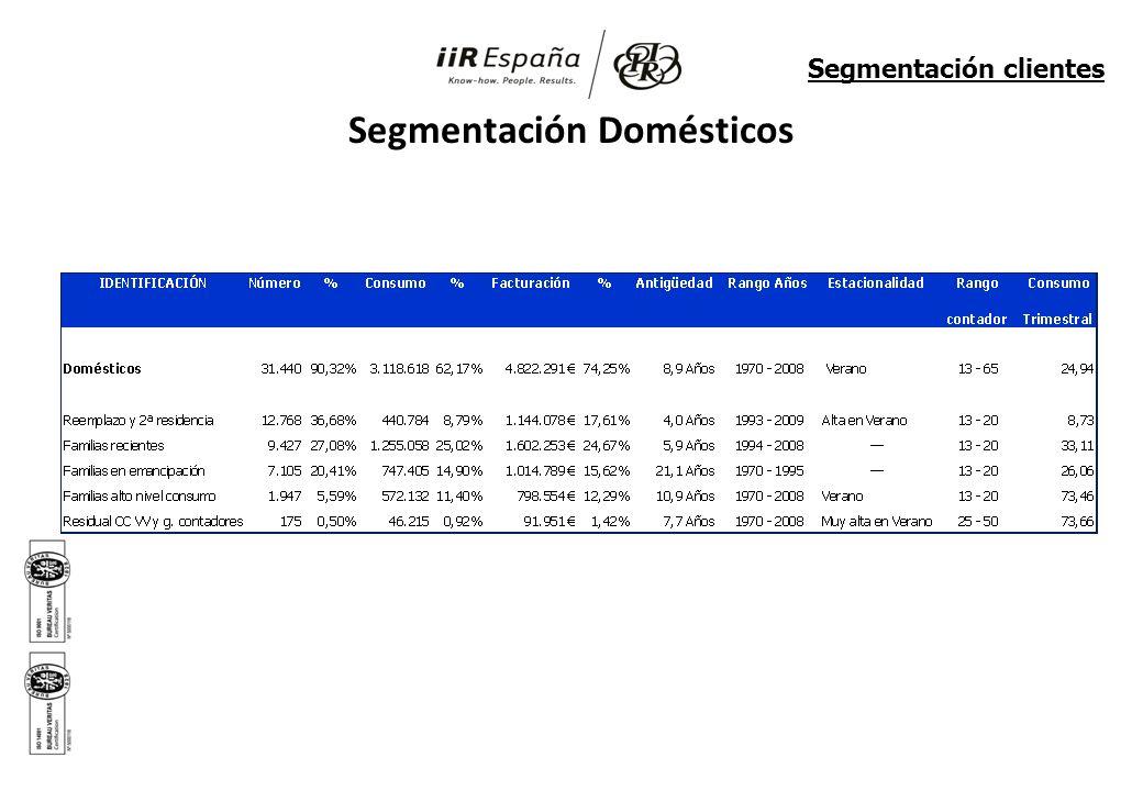 Segmentación Domésticos Segmentación clientes