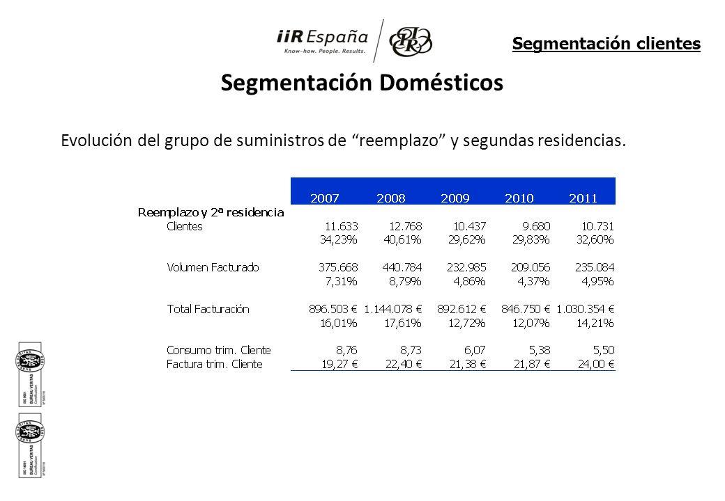 Segmentación Domésticos Evolución del grupo de suministros de reemplazo y segundas residencias. Segmentación clientes