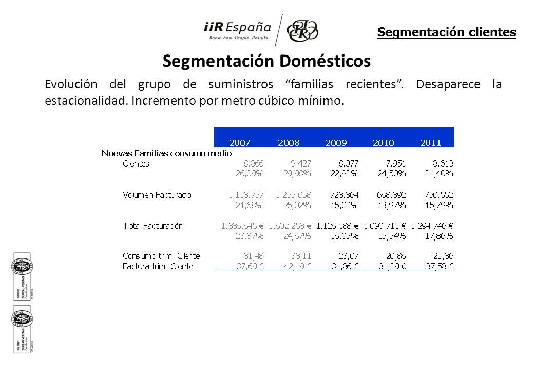 Segmentación Domésticos Evolución del grupo de suministros familias recientes. Desaparece la estacionalidad. Incremento por metro cúbico mínimo. Segme