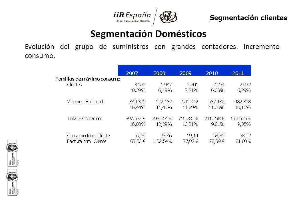 Segmentación Domésticos Evolución del grupo de suministros con grandes contadores. Incremento consumo. Segmentación clientes