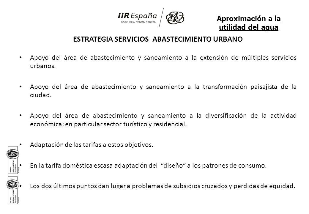 ESTRATEGIA SERVICIOS ABASTECIMIENTO URBANO Apoyo del área de abastecimiento y saneamiento a la extensión de múltiples servicios urbanos. Apoyo del áre