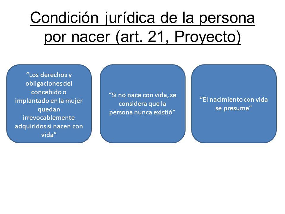 Condición jurídica de la persona por nacer (art. 21, Proyecto) Los derechos y obligaciones del concebido o implantado en la mujer quedan irrevocableme