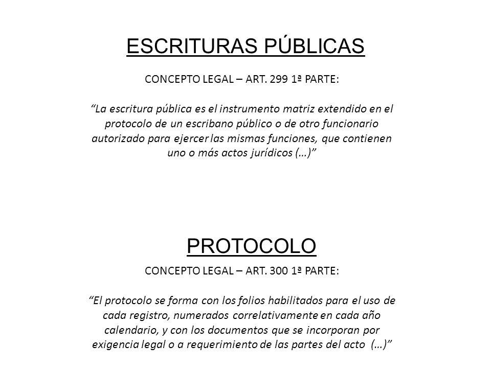 ESCRITURAS PÚBLICAS CONCEPTO LEGAL – ART. 299 1ª PARTE: La escritura pública es el instrumento matriz extendido en el protocolo de un escribano públic