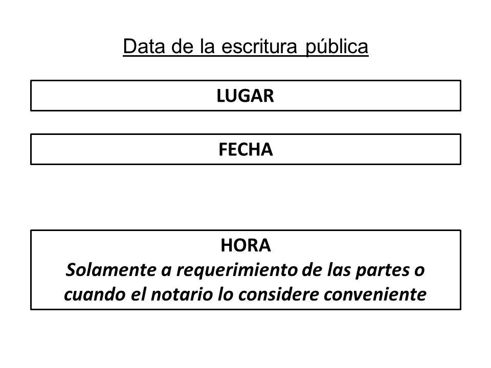 Data de la escritura pública LUGAR FECHA HORA Solamente a requerimiento de las partes o cuando el notario lo considere conveniente