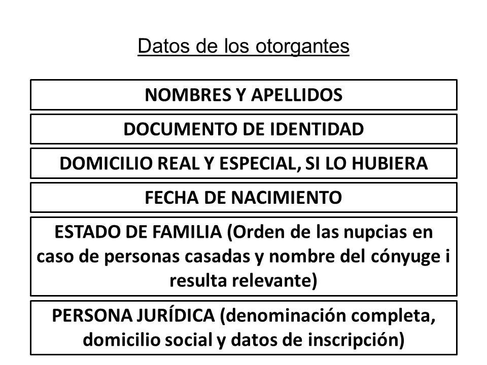Datos de los otorgantes NOMBRES Y APELLIDOS DOCUMENTO DE IDENTIDAD DOMICILIO REAL Y ESPECIAL, SI LO HUBIERA FECHA DE NACIMIENTO ESTADO DE FAMILIA (Ord