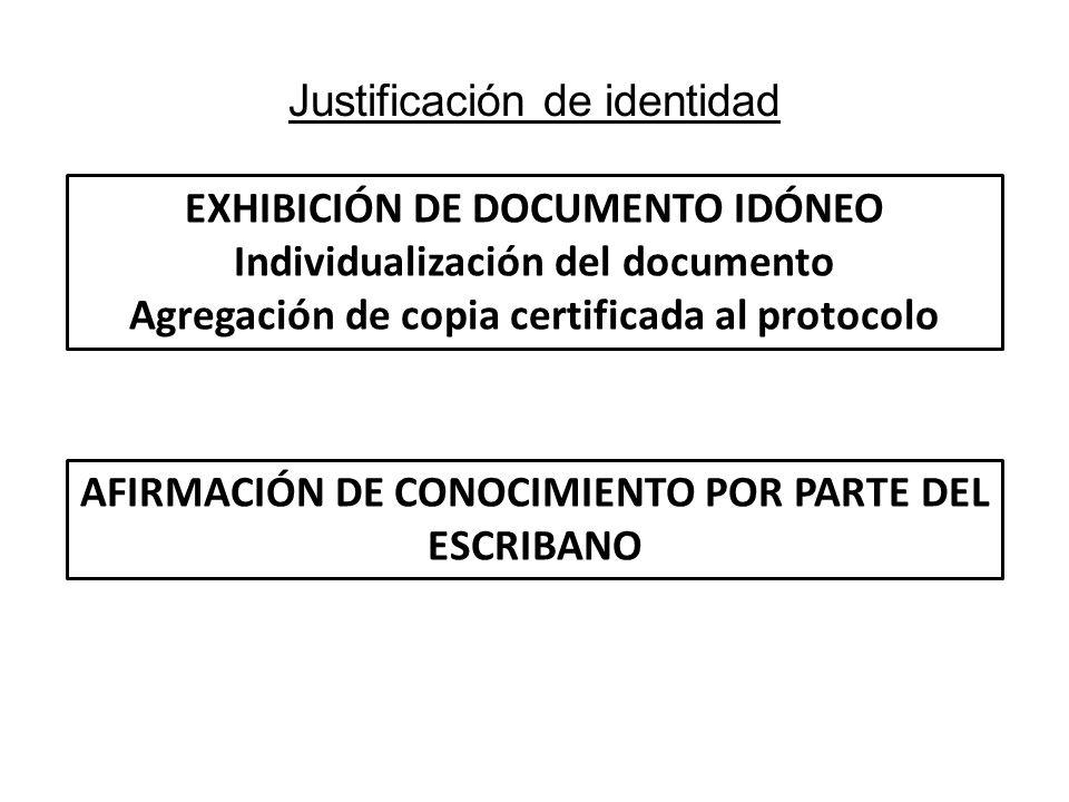Justificación de identidad EXHIBICIÓN DE DOCUMENTO IDÓNEO Individualización del documento Agregación de copia certificada al protocolo AFIRMACIÓN DE C
