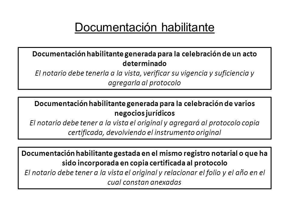 Documentación habilitante Documentación habilitante generada para la celebración de un acto determinado El notario debe tenerla a la vista, verificar