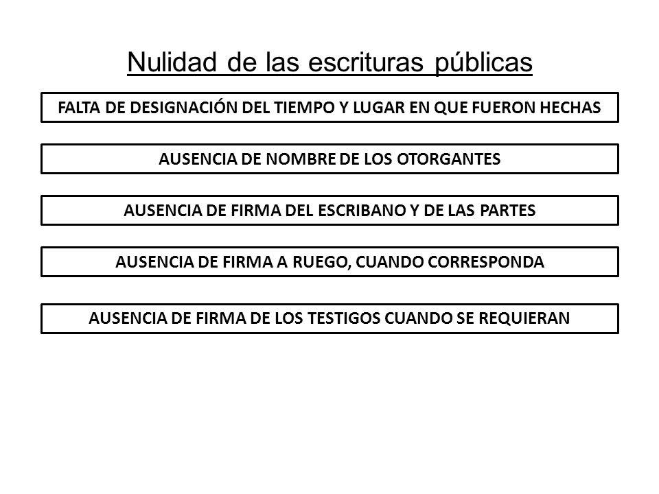 Nulidad de las escrituras públicas FALTA DE DESIGNACIÓN DEL TIEMPO Y LUGAR EN QUE FUERON HECHAS AUSENCIA DE NOMBRE DE LOS OTORGANTES AUSENCIA DE FIRMA