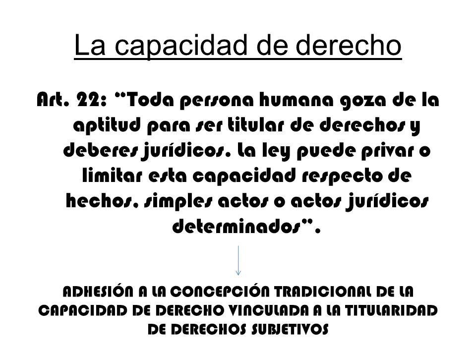 La capacidad de derecho Art. 22: Toda persona humana goza de la aptitud para ser titular de derechos y deberes jurídicos. La ley puede privar o limita