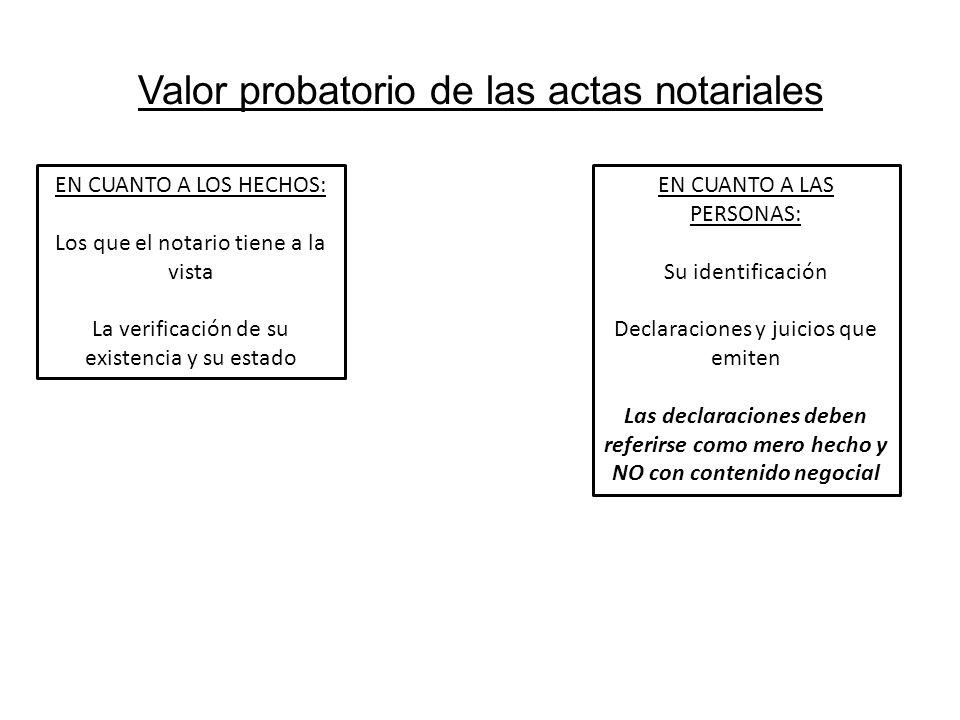 Valor probatorio de las actas notariales EN CUANTO A LOS HECHOS: Los que el notario tiene a la vista La verificación de su existencia y su estado EN C