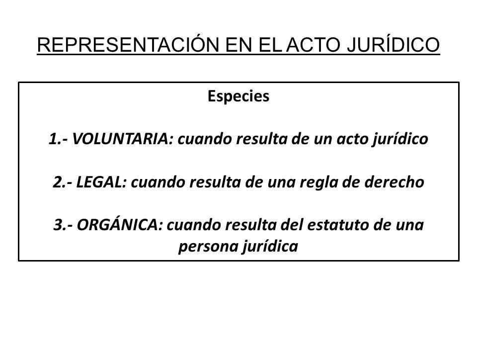 REPRESENTACIÓN EN EL ACTO JURÍDICO Especies 1.- VOLUNTARIA: cuando resulta de un acto jurídico 2.- LEGAL: cuando resulta de una regla de derecho 3.- O