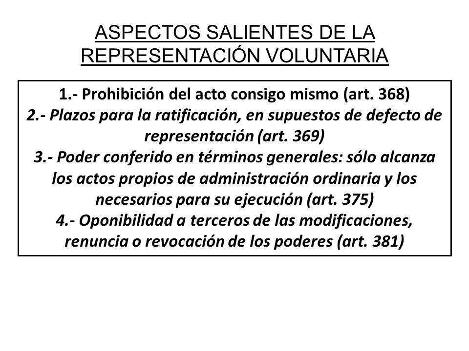 ASPECTOS SALIENTES DE LA REPRESENTACIÓN VOLUNTARIA 1.- Prohibición del acto consigo mismo (art. 368) 2.- Plazos para la ratificación, en supuestos de