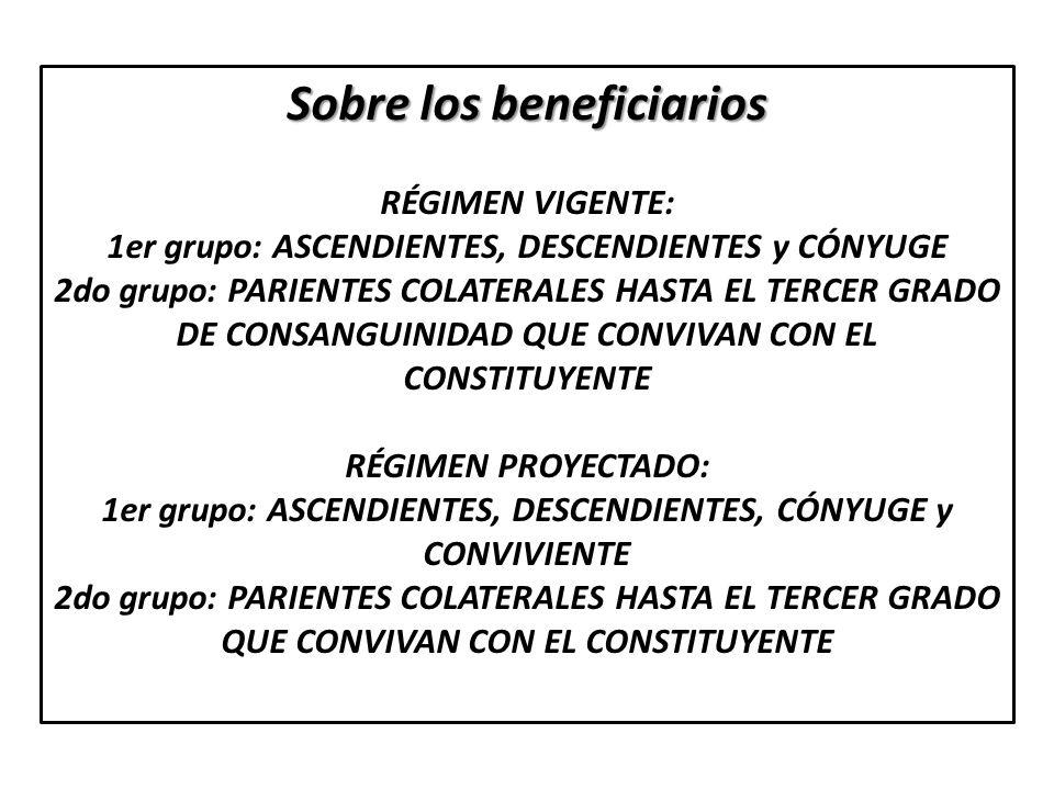 Sobre los beneficiarios RÉGIMEN VIGENTE: 1er grupo: ASCENDIENTES, DESCENDIENTES y CÓNYUGE 2do grupo: PARIENTES COLATERALES HASTA EL TERCER GRADO DE CO