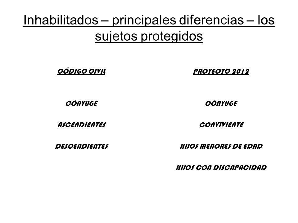 Inhabilitados – principales diferencias – los sujetos protegidos CÓDIGO CIVIL CÓNYUGE ASCENDIENTES DESCENDIENTES PROYECTO 2012 CÓNYUGE CONVIVIENTE HIJ