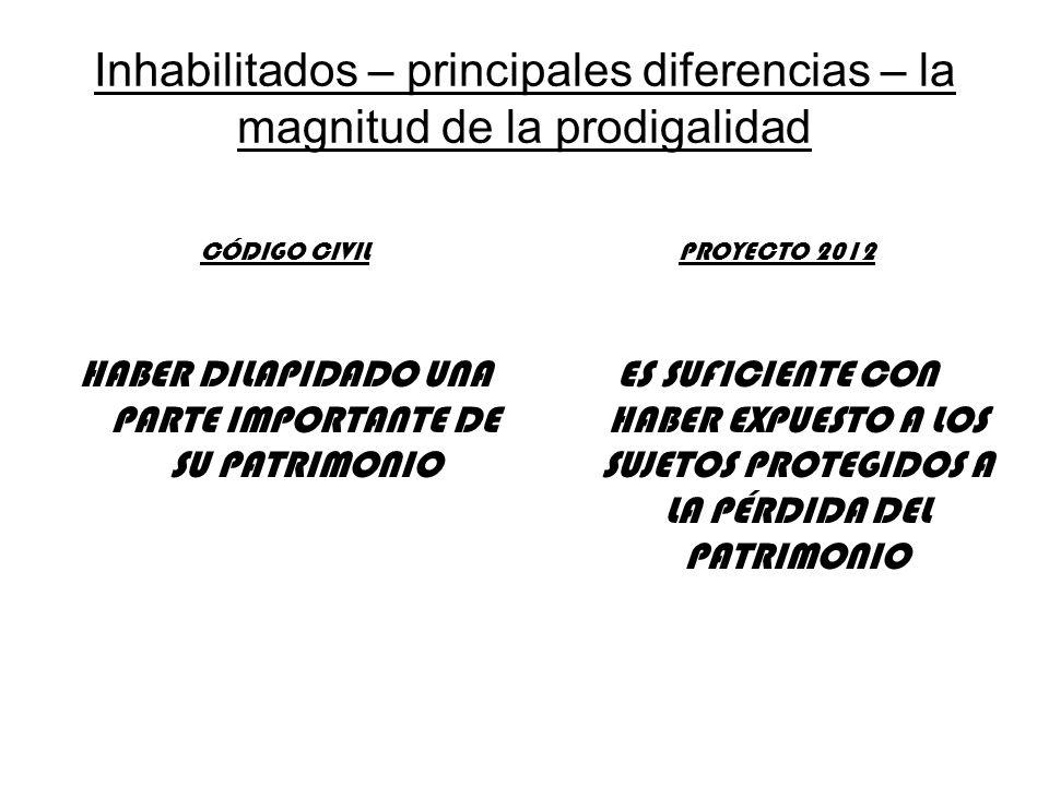 Inhabilitados – principales diferencias – la magnitud de la prodigalidad CÓDIGO CIVIL HABER DILAPIDADO UNA PARTE IMPORTANTE DE SU PATRIMONIO PROYECTO