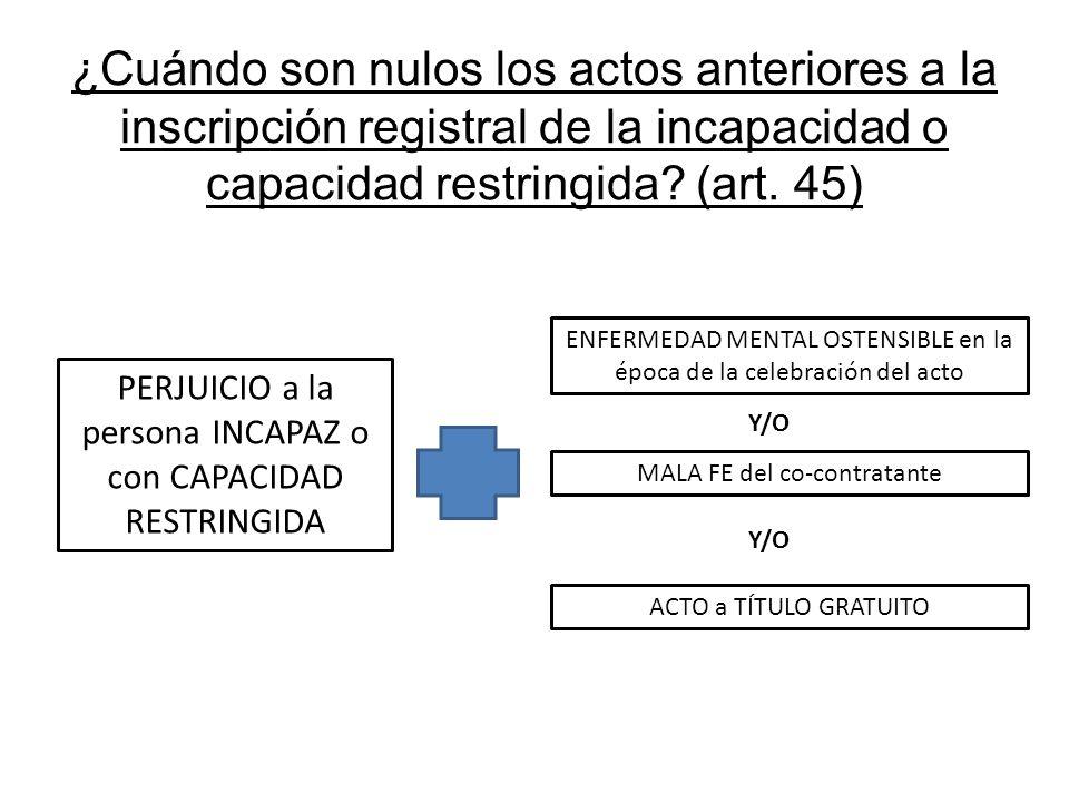 ¿Cuándo son nulos los actos anteriores a la inscripción registral de la incapacidad o capacidad restringida? (art. 45) PERJUICIO a la persona INCAPAZ