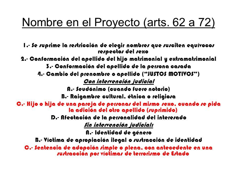 Nombre en el Proyecto (arts. 62 a 72) 1.- Se suprime la restricción de elegir nombres que susciten equívocos respectos del sexo 2.- Conformación del a