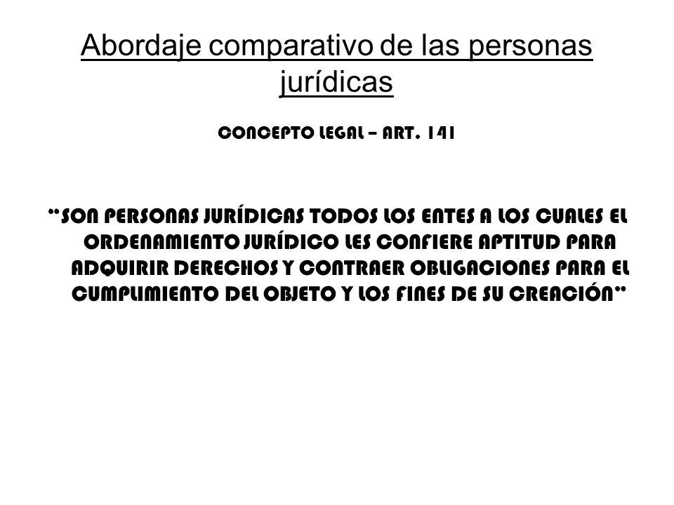 Abordaje comparativo de las personas jurídicas CONCEPTO LEGAL – ART. 141 SON PERSONAS JURÍDICAS TODOS LOS ENTES A LOS CUALES EL ORDENAMIENTO JURÍDICO