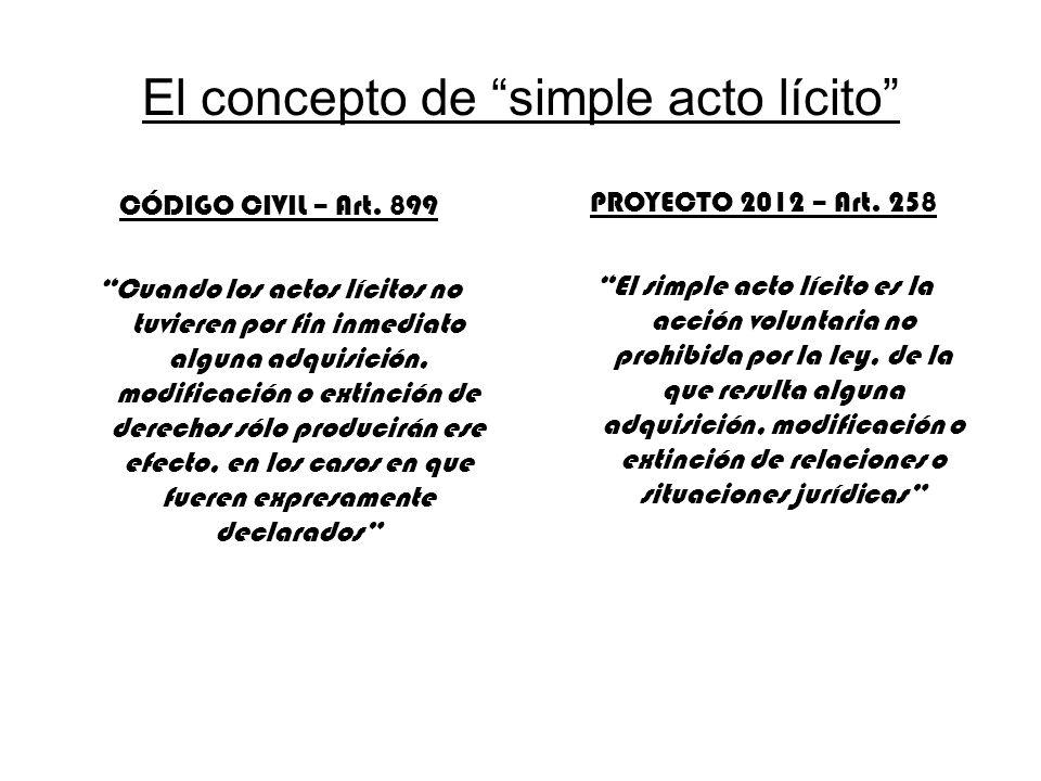 El concepto de simple acto lícito CÓDIGO CIVIL – Art. 899 Cuando los actos lícitos no tuvieren por fin inmediato alguna adquisición, modificación o ex