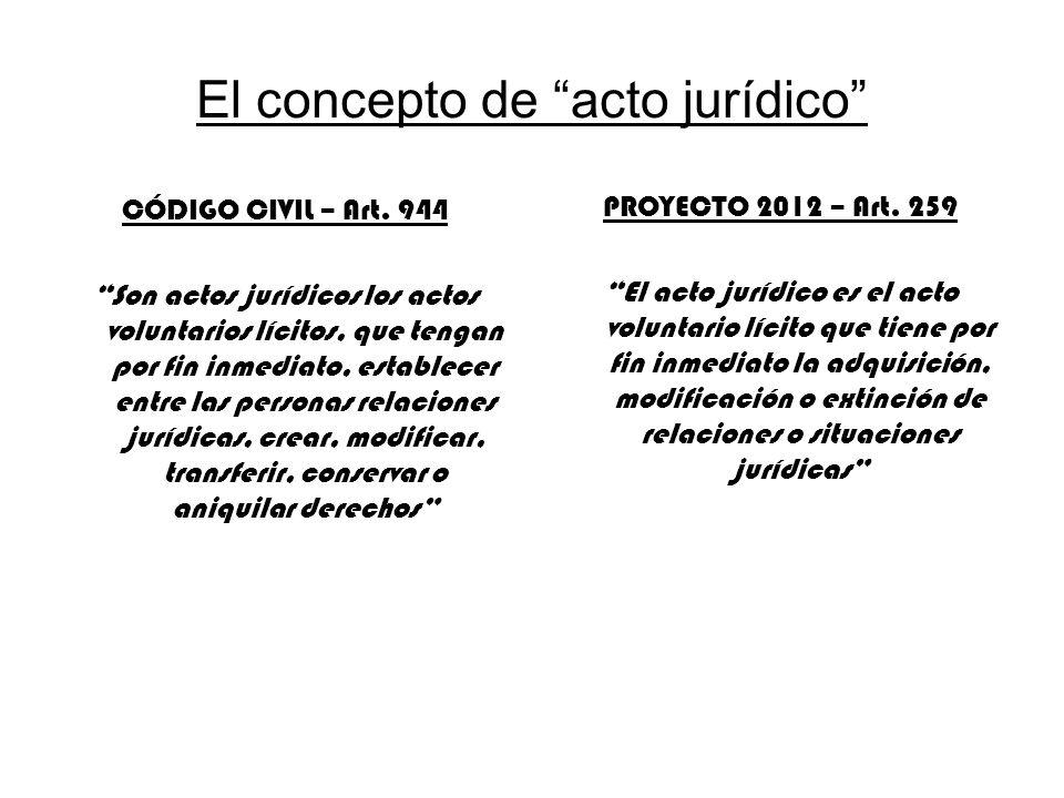 El concepto de acto jurídico CÓDIGO CIVIL – Art. 944 Son actos jurídicos los actos voluntarios lícitos, que tengan por fin inmediato, establecer entre