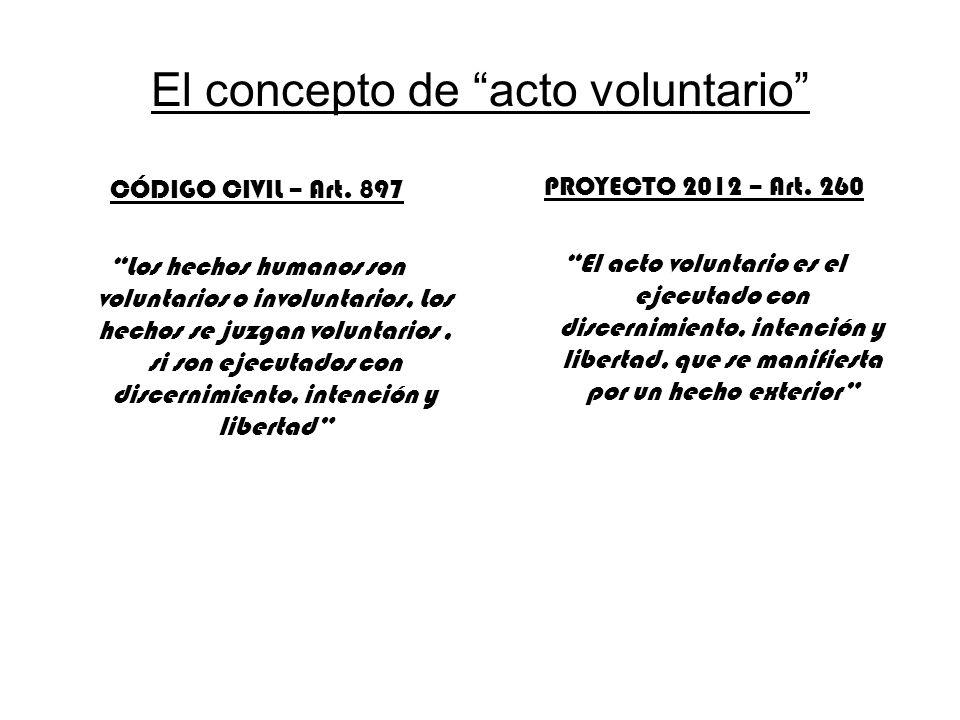 El concepto de acto voluntario CÓDIGO CIVIL – Art. 897 Los hechos humanos son voluntarios o involuntarios, Los hechos se juzgan voluntarios, si son ej