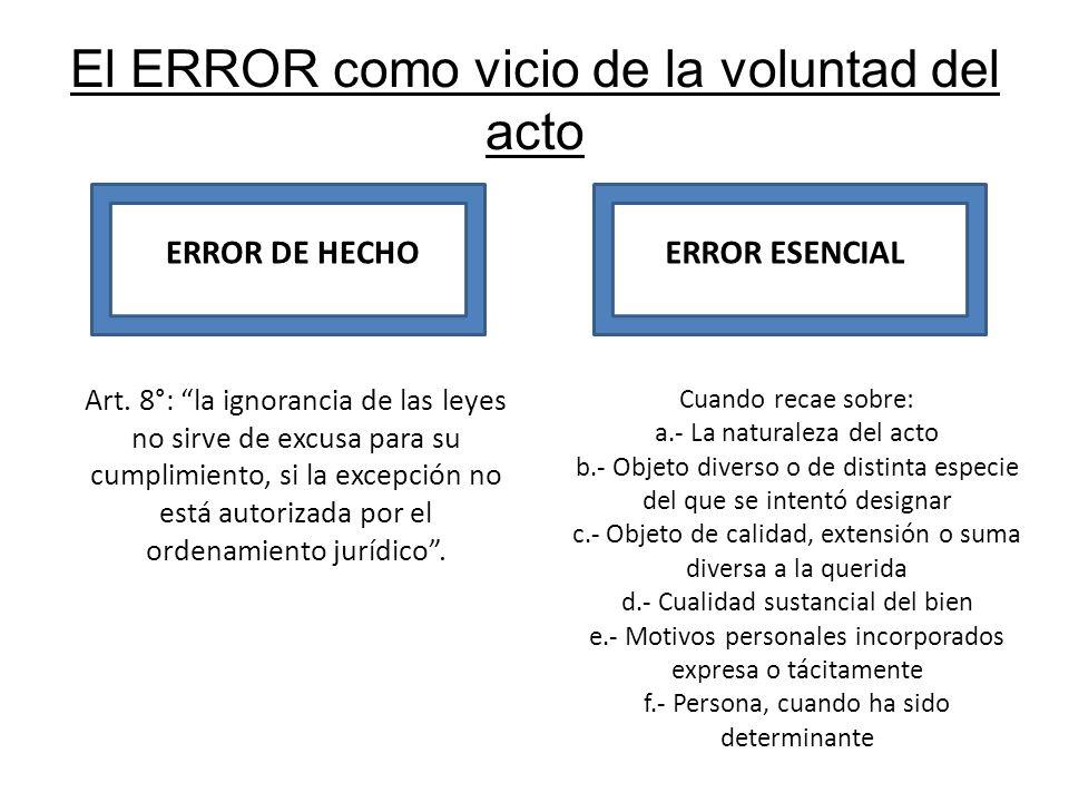 El ERROR como vicio de la voluntad del acto ERROR DE HECHOERROR ESENCIAL Art. 8°: la ignorancia de las leyes no sirve de excusa para su cumplimiento,