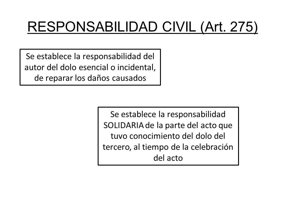 RESPONSABILIDAD CIVIL (Art. 275) Se establece la responsabilidad del autor del dolo esencial o incidental, de reparar los daños causados Se establece