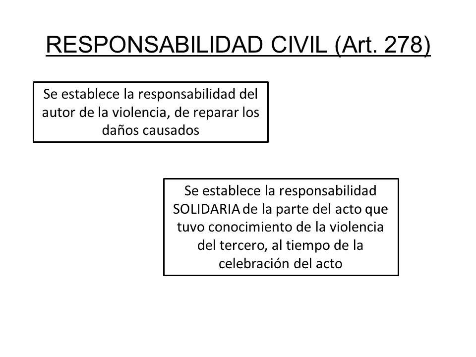 RESPONSABILIDAD CIVIL (Art. 278) Se establece la responsabilidad del autor de la violencia, de reparar los daños causados Se establece la responsabili