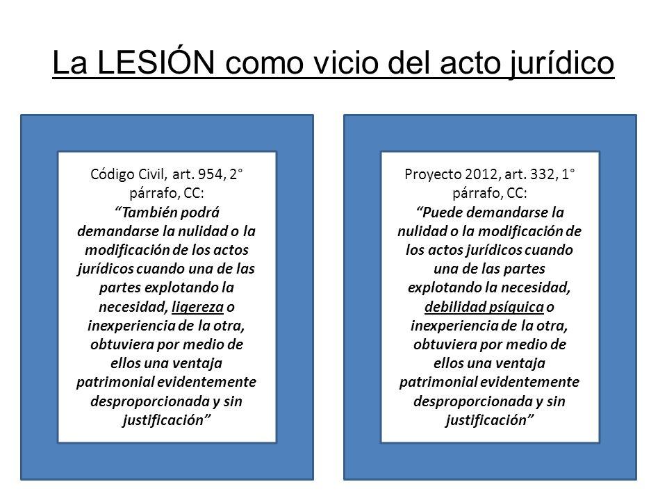 La LESIÓN como vicio del acto jurídico Código Civil, art. 954, 2° párrafo, CC: También podrá demandarse la nulidad o la modificación de los actos jurí