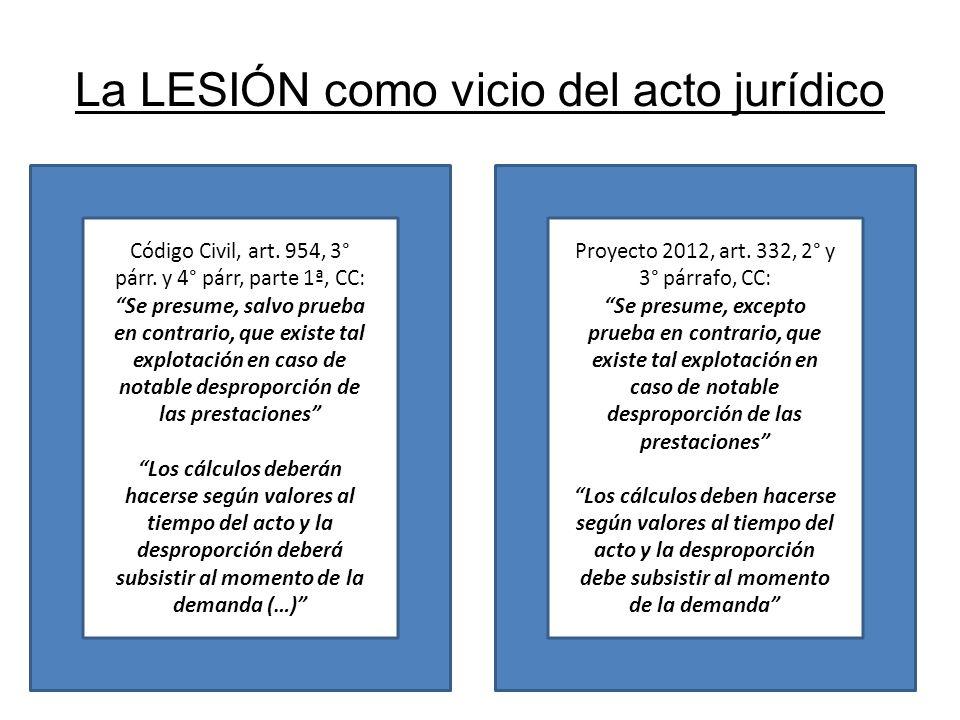 La LESIÓN como vicio del acto jurídico Código Civil, art. 954, 3° párr. y 4° párr, parte 1ª, CC: Se presume, salvo prueba en contrario, que existe tal
