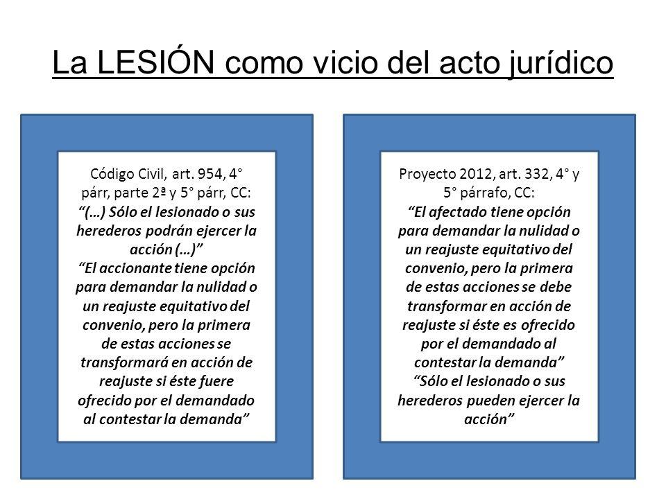 La LESIÓN como vicio del acto jurídico Código Civil, art. 954, 4° párr, parte 2ª y 5° párr, CC: (…) Sólo el lesionado o sus herederos podrán ejercer l