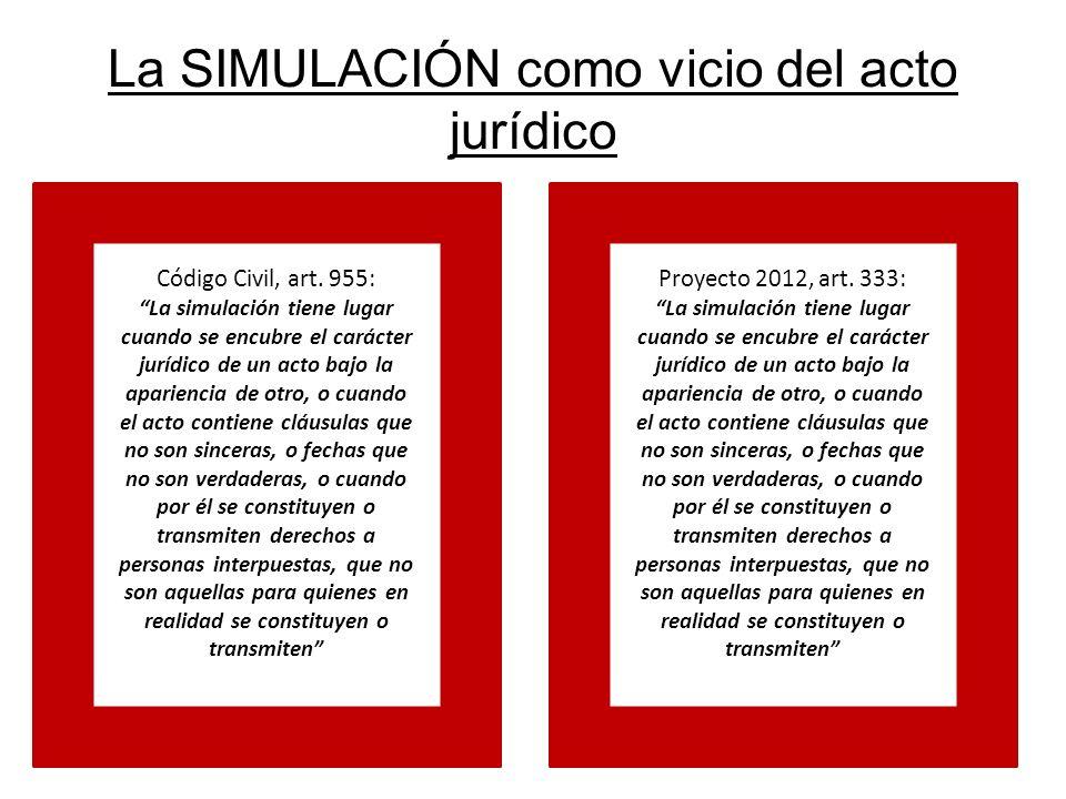 La SIMULACIÓN como vicio del acto jurídico Código Civil, art. 955: La simulación tiene lugar cuando se encubre el carácter jurídico de un acto bajo la
