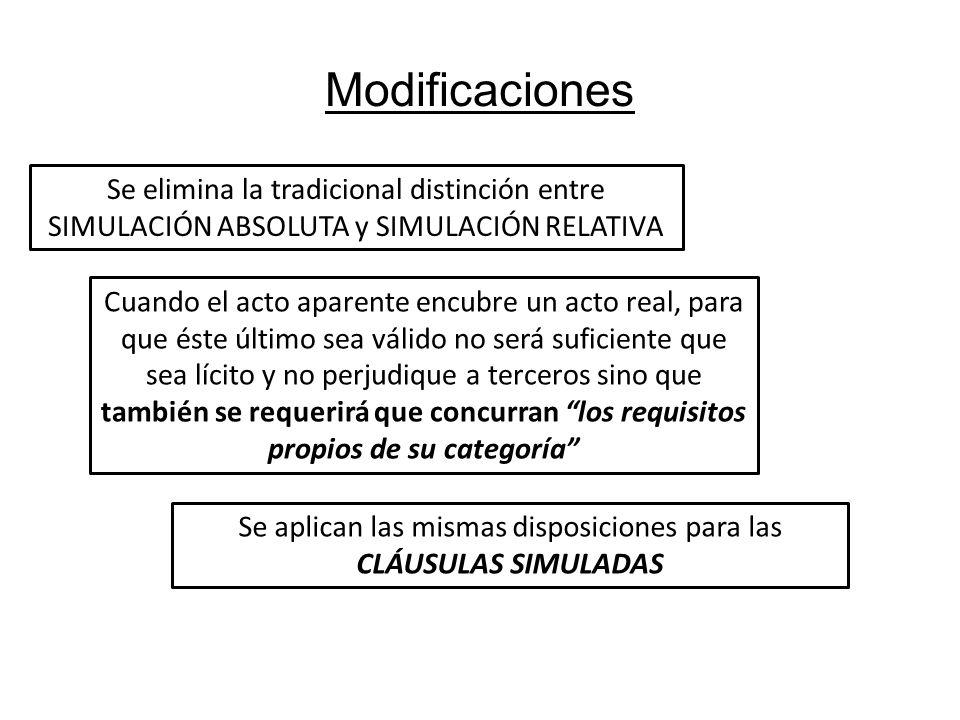 Modificaciones Se elimina la tradicional distinción entre SIMULACIÓN ABSOLUTA y SIMULACIÓN RELATIVA Se aplican las mismas disposiciones para las CLÁUS