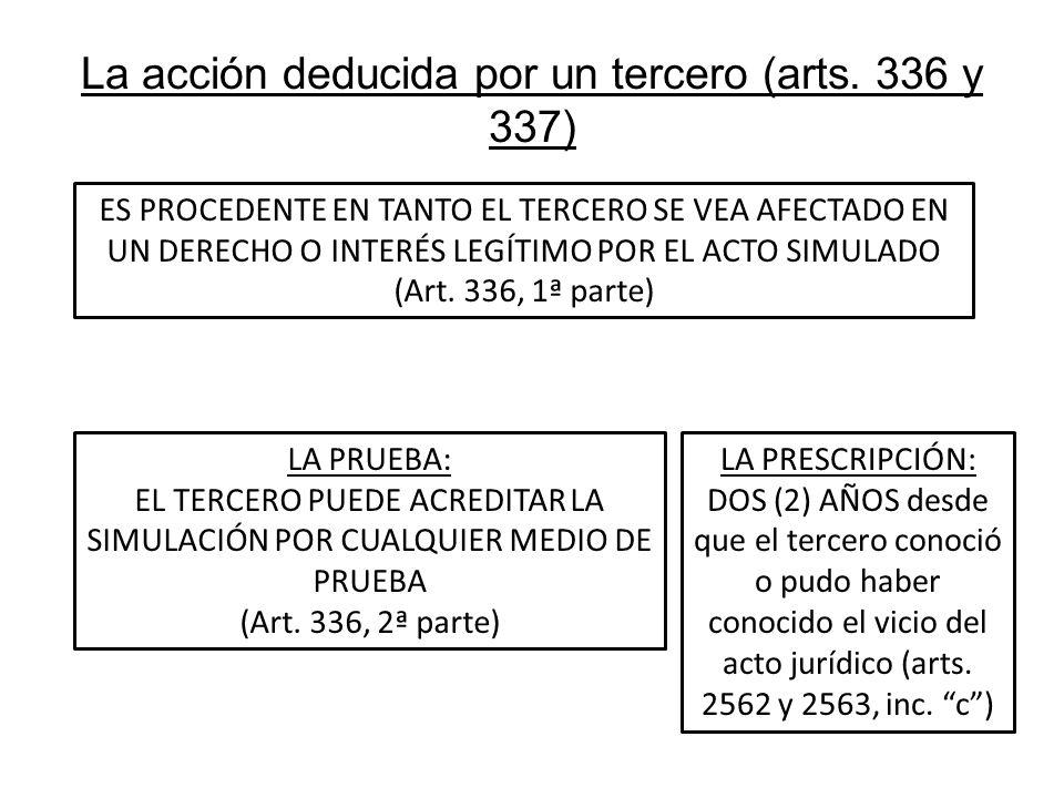 La acción deducida por un tercero (arts. 336 y 337) ES PROCEDENTE EN TANTO EL TERCERO SE VEA AFECTADO EN UN DERECHO O INTERÉS LEGÍTIMO POR EL ACTO SIM