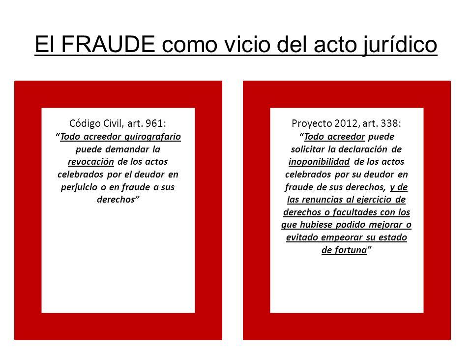 El FRAUDE como vicio del acto jurídico Código Civil, art. 961: Todo acreedor quirografario puede demandar la revocación de los actos celebrados por el