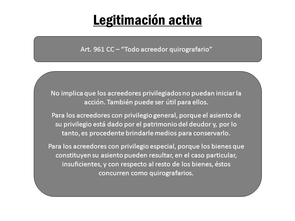 Legitimación activa Art. 961 CC – Todo acreedor quirografario No implica que los acreedores privilegiados no puedan iniciar la acción. También puede s