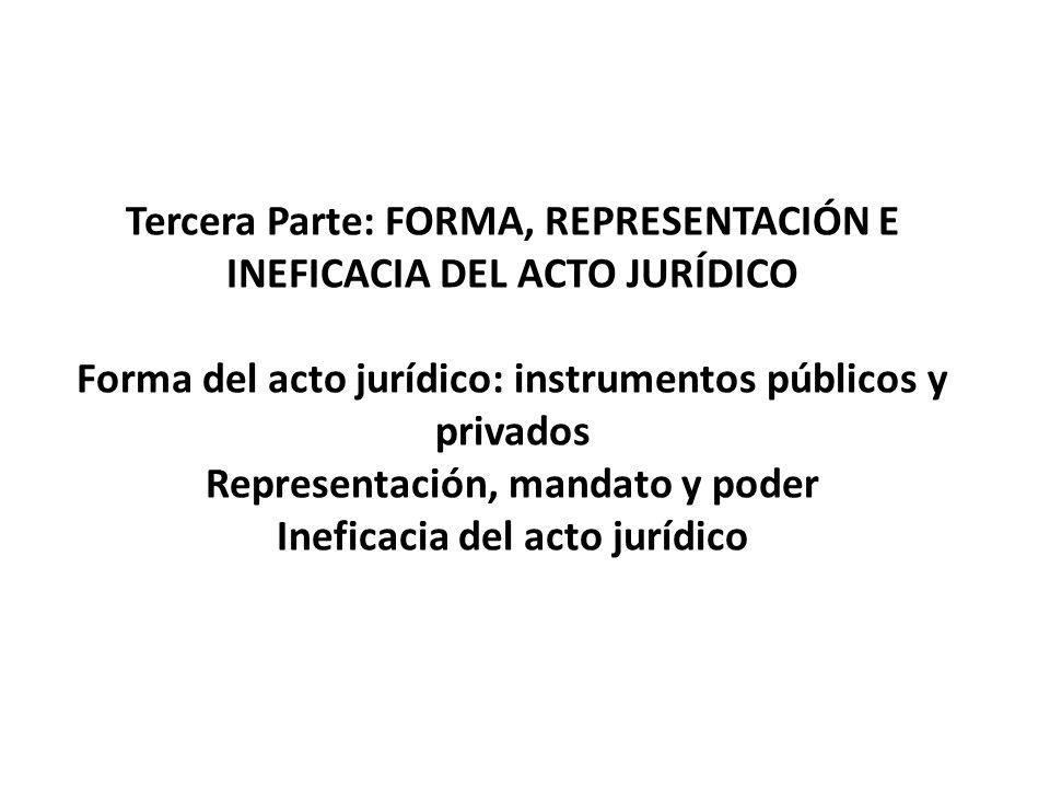 Tercera Parte: FORMA, REPRESENTACIÓN E INEFICACIA DEL ACTO JURÍDICO Forma del acto jurídico: instrumentos públicos y privados Representación, mandato