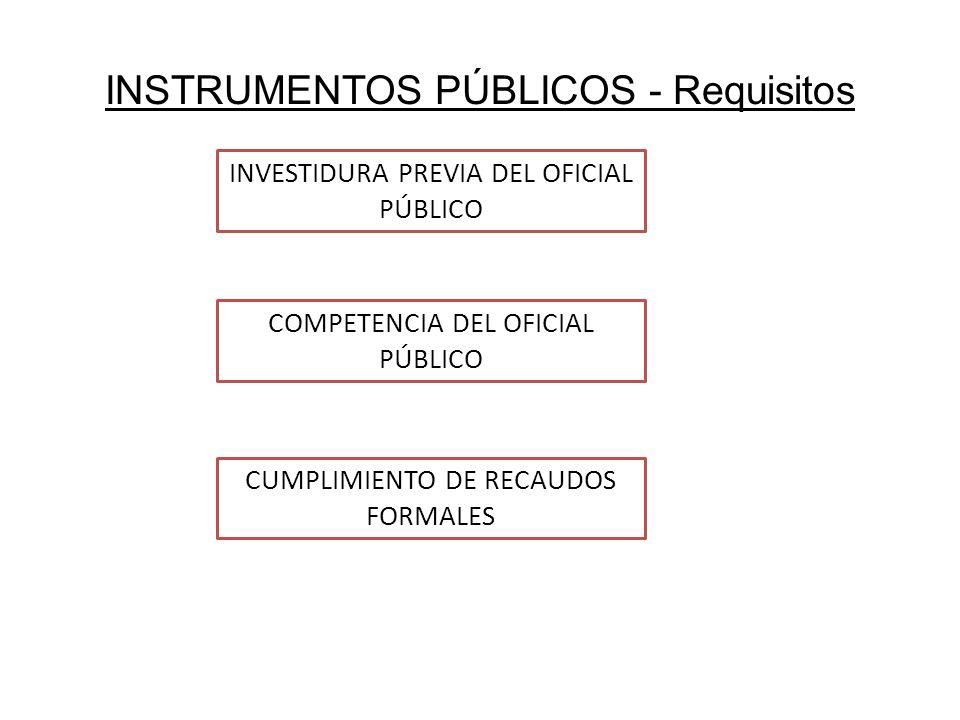 INSTRUMENTOS PÚBLICOS - Requisitos INVESTIDURA PREVIA DEL OFICIAL PÚBLICO COMPETENCIA DEL OFICIAL PÚBLICO CUMPLIMIENTO DE RECAUDOS FORMALES