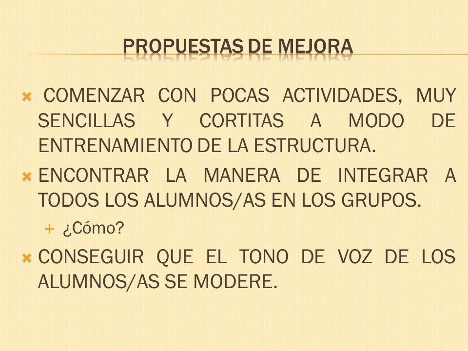 COMENZAR CON POCAS ACTIVIDADES, MUY SENCILLAS Y CORTITAS A MODO DE ENTRENAMIENTO DE LA ESTRUCTURA.