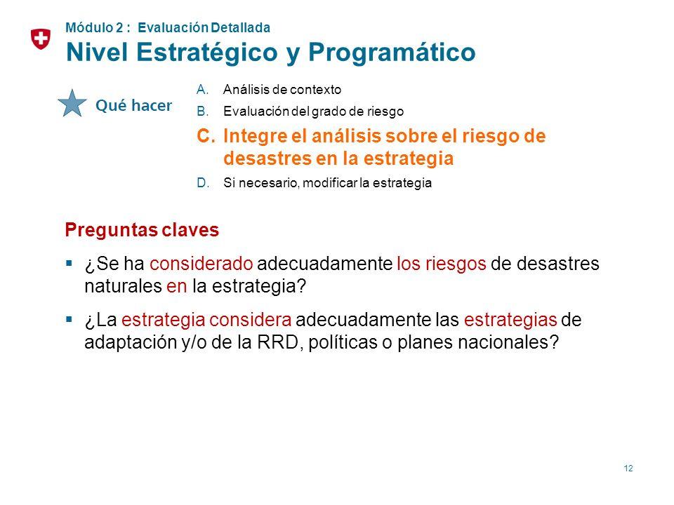 12 A.Análisis de contexto B.Evaluación del grado de riesgo C.Integre el análisis sobre el riesgo de desastres en la estrategia D.Si necesario, modific