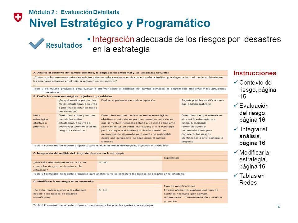14 Integración adecuada de los riesgos por desastres en la estrategia Instrucciones Contexto del riesgo, página 15 Evaluación del riesgo, página 16 In