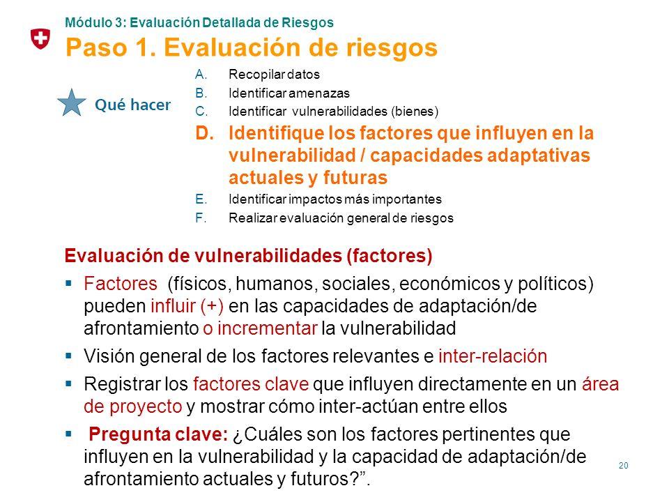 20 Evaluación de vulnerabilidades (factores) Factores (físicos, humanos, sociales, económicos y políticos) pueden influir (+) en las capacidades de ad
