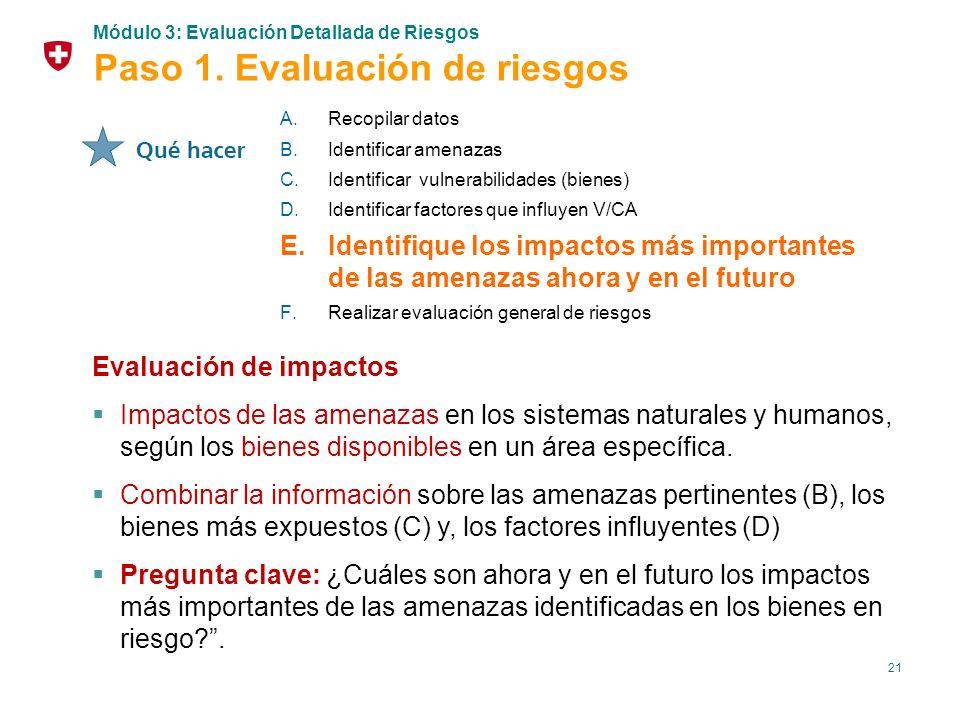 21 Evaluación de impactos Impactos de las amenazas en los sistemas naturales y humanos, según los bienes disponibles en un área específica. Combinar l